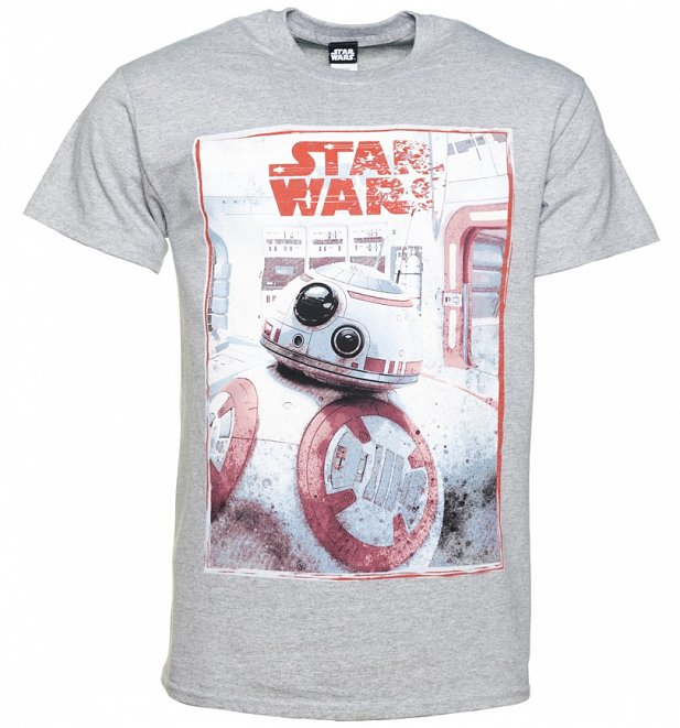 Men's Grey Marl Star Wars VIII The Last Jedi BB-8 Reveal T-Shirt