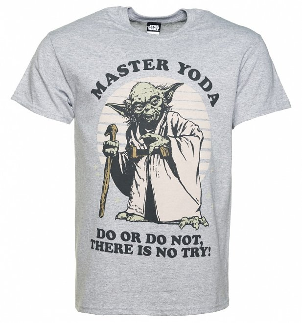 Men's Grey Marl Yoda Do Or Do Not Star Wars T-Shirt