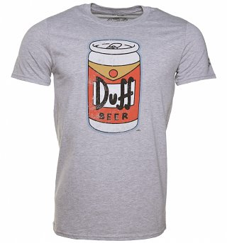 Men's Grey The Simpsons Duff Beer Can T-Shirt