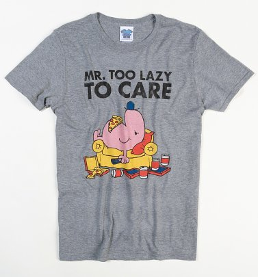 Men's Heather Grey Mr Lazy Too Lazy To Care T-Shirt