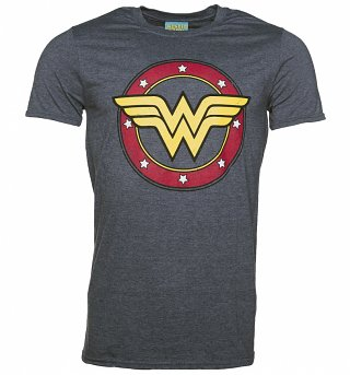 Men's Heather Navy Wonder Woman Circle Logo T-Shirt