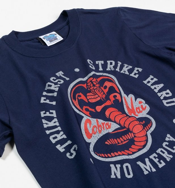 Men's Karate Kid Strike First Strike Hard Navy T-Shirt