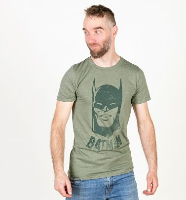 Men's Khaki Vintage Batman T-Shirt