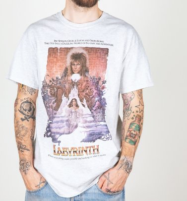 Men's Labyrinth Illustrated Movie Poster Ash Grey T-Shirt