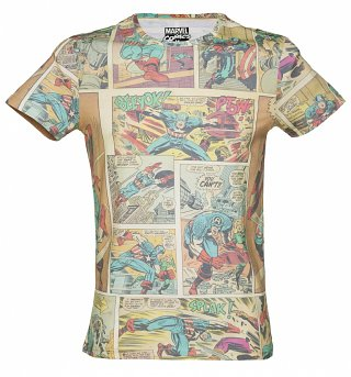 Men's Marvel Captain America Comic All Over Print T-Shirt