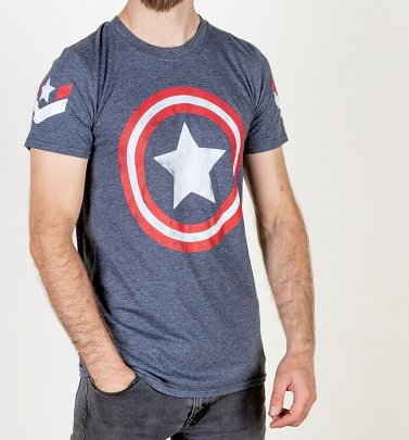 PENDING APPROVAL VIA POETIC Men's Marvel Captain America Shield Navy T-Shirt
