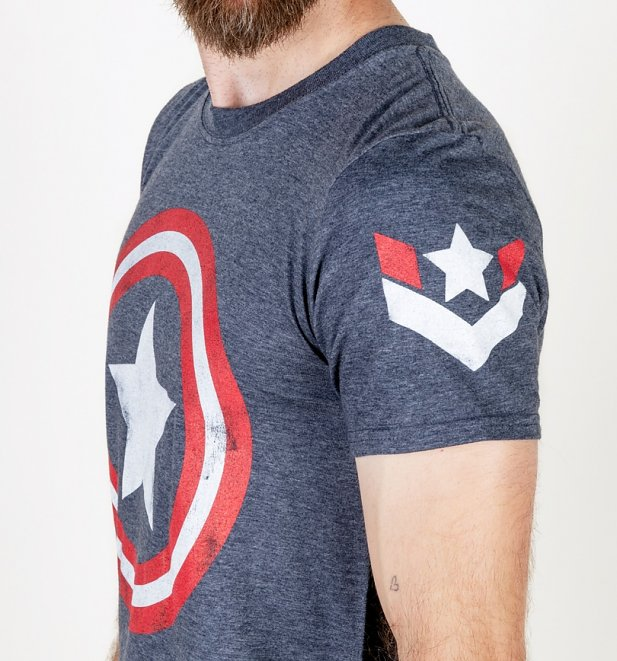 Men's Marvel Captain America Shield Navy T-Shirt