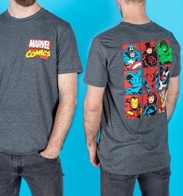 AWAITING POETIC APPROVAL 3/9 Men's Marvel Comics Superheroes Dark Heather T-Shirt With Back Print
