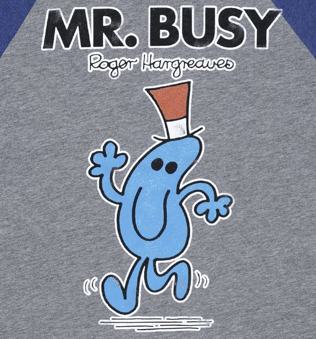 Men's Mr Busy Heather Grey and Blue Raglan Baseball Tee