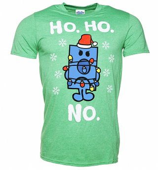 Men's Mr Grumpy Ho Ho No Heather Green T-Shirt