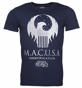 Men's Navy MACUSA Silver Logo Fantastic Beasts T-Shirt