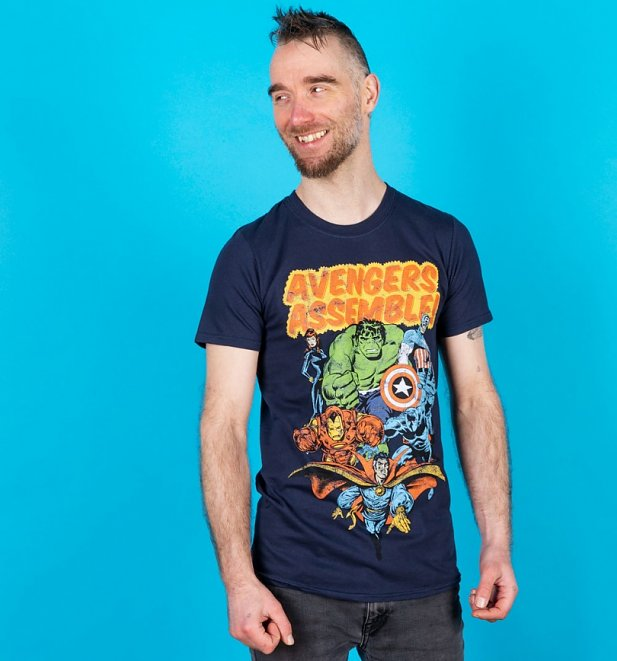 Men's Navy Marvel Assemble T-Shirt