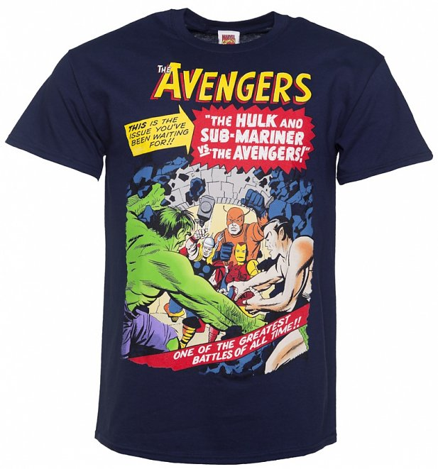 Men's Navy Marvel Comics Avengers Greatest Battle Of All Time T-Shirt