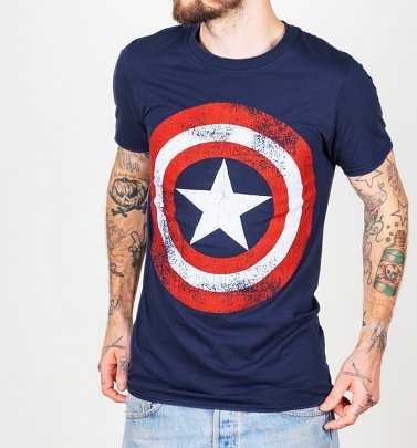 Marvel Captain America Distressed Schild Logo Herren T-Shirt, Navy-Blau