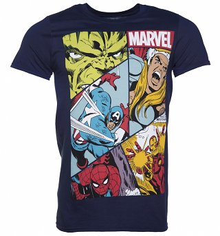 Men's Navy Marvel Heroes Collage T-Shirt