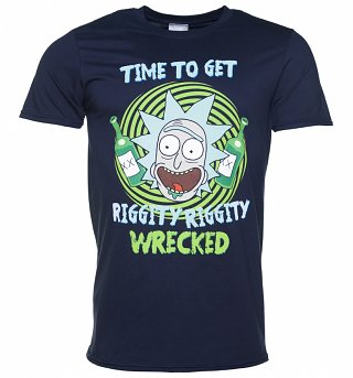 Men's Navy Rick And Morty Riggity Riggity Wrecked T-Shirt