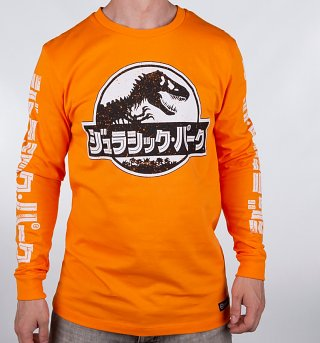 Men's Orange Jurassic Park Japanese Distressed Long Sleeve T-Shirt from Hype