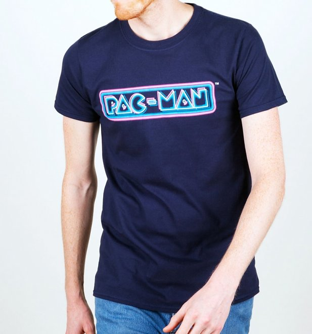 Men's Pac-Man Neon Logo T-Shirt