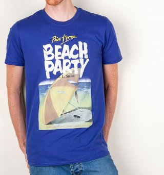 Men's Point Horror Beach Party Metro Blue T-Shirt