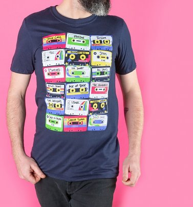 Men's Pop Music Cassette Tapes Navy T-Shirt