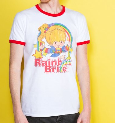 Men's Rainbow Brite Stars White And Red Ringer T-Shirt