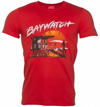 Men's Red Baywatch Beach Hut T-Shirt