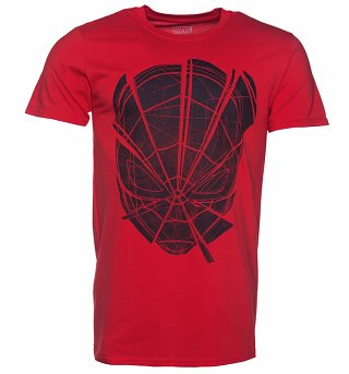 Men's Red Spider-Man Head Web Marvel Comics T-Shirt