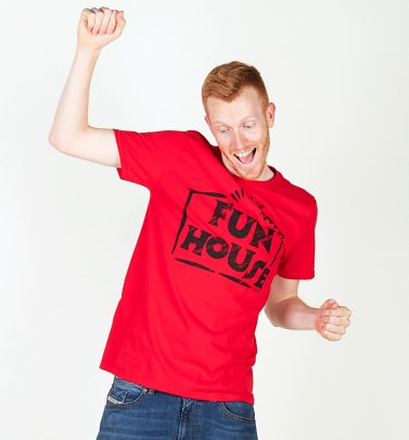 Herren rot Team Fun House Logo T-Shirt