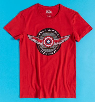 Men's Red The Falcon and The Winter Soldier Shield T-Shirt from Difuzed