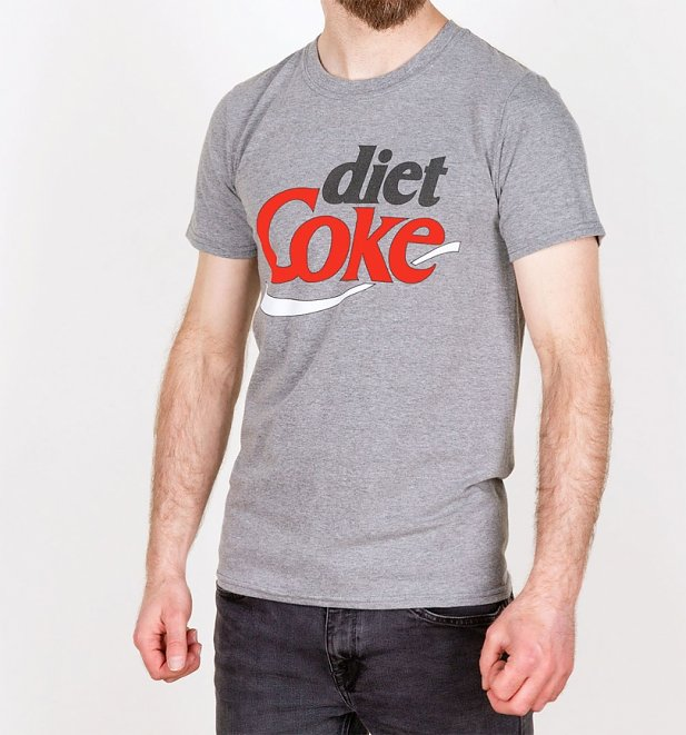 Men's Retro Diet Coke Logo Grey Marl T-Shirt