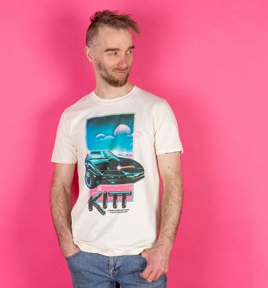 Men's Retro Knight Rider Ecru T-Shirt