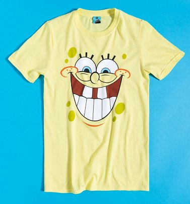 Men's SpongeBob SquarePants Happy Face Yellow T-Shirt