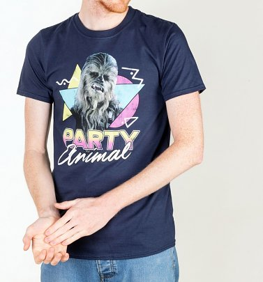 Men's Star Wars Chewbacca Party Animal Navy T-Shirt