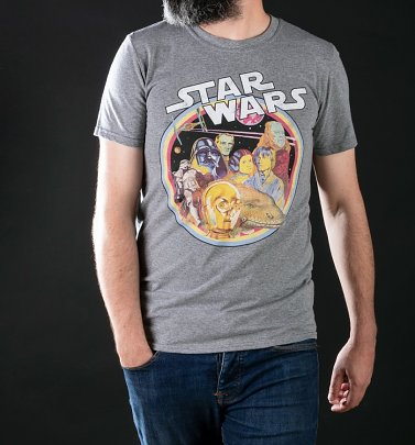 Men's Star Wars Retro Gang Heather Graphite T-Shirt
