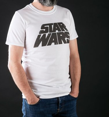 Men's Star Wars Retro Logo White T-Shirt