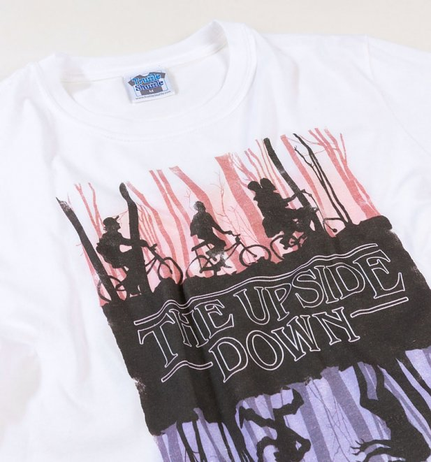 Men's White Stranger Things Inspired Upside Down T-Shirt