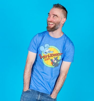 Men's Blue Marl Itchy and Scratchy Simpsons T-Shirt