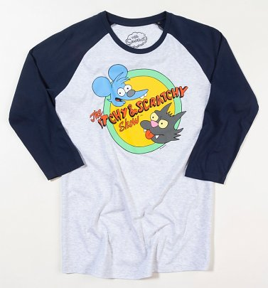 The Simpsons Itchy and Scratchy Grey and Navy Baseball T-Shirt