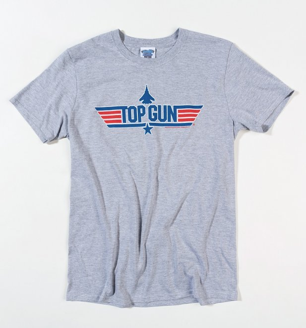 Men's Top Gun Blue Logo Sport Grey T-Shirt