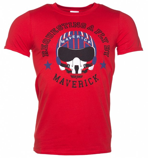 Men's Top Gun Maverick Requesting a Fly By Red T-Shirt