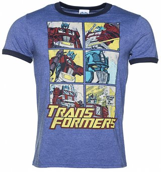 Men's Transformers Optimus Prime Comic Blue Marl Ringer T-Shirt
