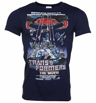 Men's Navy Transformers Retro Movie Poster T-Shirt