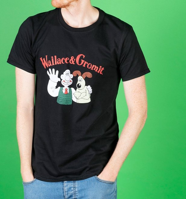 AWAITING APPROVAL PPS SENT 2/10 Men's Vintage Wallace And Gromit Black T-Shirt