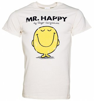 Men's Off White Mr Happy Mr Men Heavyweight T-Shirt