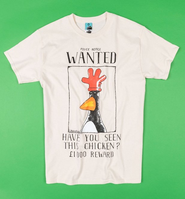 Men's Wallace And Gromit Feathers McGraw Wanted Poster Ecru T-Shirt