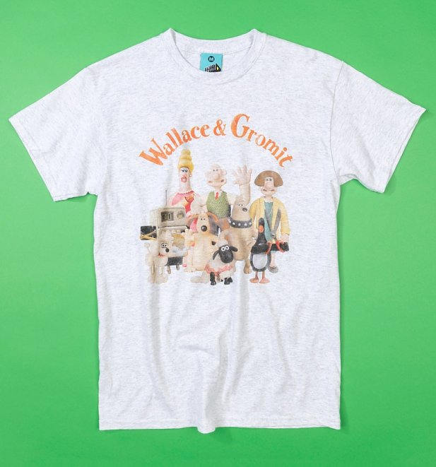 Men's Wallace And Gromit Group Ash Grey T-Shirt