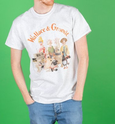 AWAITING APPROVAL PPS SENT 17/9 Men's Wallace And Gromit Group Ash Grey T-Shirt