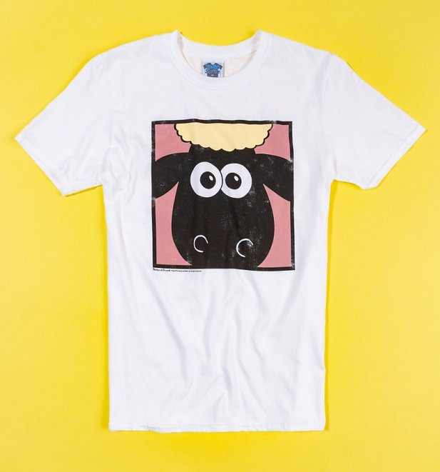 Men's Wallace And Gromit Shaun The Sheep Face White T-Shirt