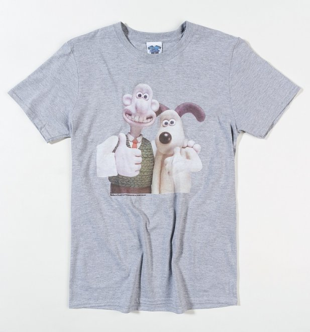 Men's Wallace and Gromit Classic Photograph Sport Grey T-Shirt