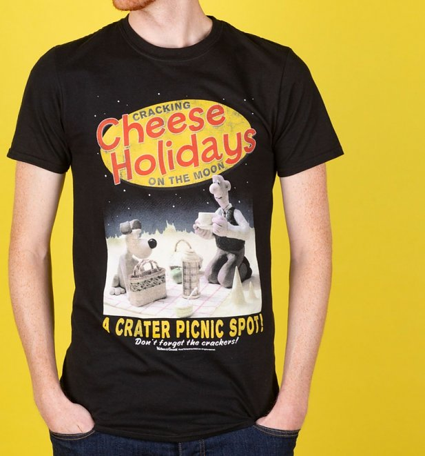 Wallace and Gromit Cracking Cheese Holidays Black T-Shirt